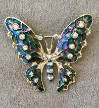 Blue and Rhinestone Butterfly Brooch