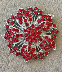 Red Floral Brooch