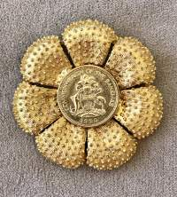 Gold Plated Bahamian Coin Floral Brooch