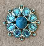 Blue and Turquoise Brooch