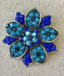 Blue and Turquoise Floral Brooch