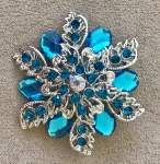 Turquoise and Blue Floral Brooch