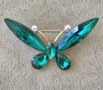 Emerald Green Butterfly Brooch