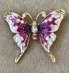 Pink and Gold Butterfly Brooch