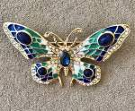 Blue and Green Butterfly Brooch