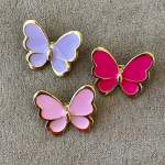 Set of Three Small Butterfly Brooches